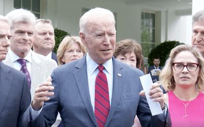 President Biden joined by bipartisan group of Senators to announce infrastructure agreement framework.