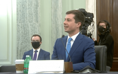 Screenshot of Pete Buttigieg from his nomination hearing before the Senate Commercen, Science and Transportation Committee Hearing on 1/19/2020